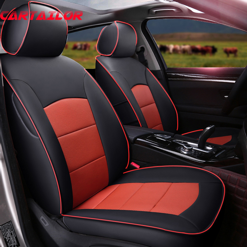 CARTAILOR Car Seat Covers Leather for Volkswagen Sharan Seat Cover & Accessories Tailored Car Seats Protector Supports Set Black covers for citroen c4 car seat cover interior accessories sandwich cover seats for citroen black car styling seats protector