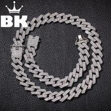 Цвет 20 мм зубцы кубинские звенья цепи ожерелье Мода хип-хоп ювелирные изделия 3 ряда Стразы Iced Out ожерелье s для мужчин
