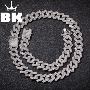 New Color 20mm Cuban Link Chains Necklace Fashion Hiphop Jewelry 3 Row Rhinestones Iced Out Necklaces For Men(China)