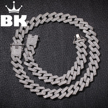 New Color 20mm Cuban Link Chains Necklace Fashion Hiphop Jewelry 3 Row Rhinestones Iced Out Necklaces For Men