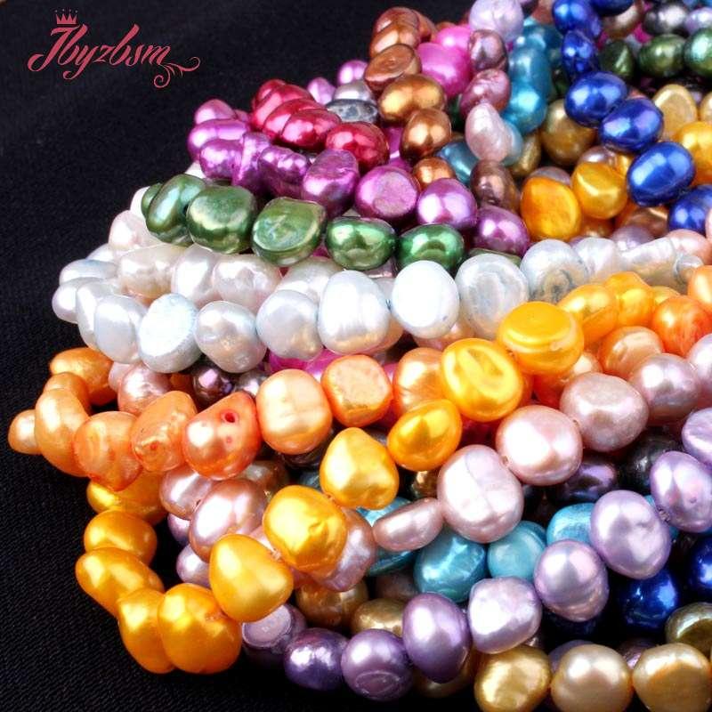 c5abeba419af 5-7mm perlas de agua dulce de forma libre Piedra Natural Cuentas para  pulseras collar joyería que hace espaciador Loose Strand 14 envío libre