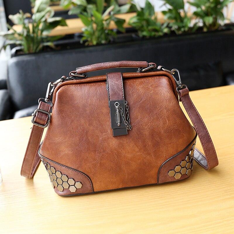 Gykaeo New 2018 Summer Fashion Style Rivet Doctor Tote Bag Luxury Handbags Women Bags Designer Anti Thief Shoulder Messenger In Top Handle From