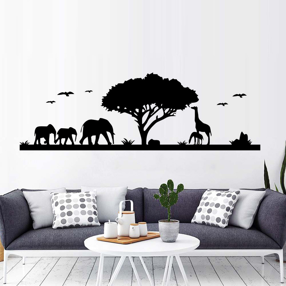 Wild birch forest with owls vinyl wall decal - Nature Forest And Animals Elephant Giraffe Wall Stickers Vinyl Tree Decals For Living Room Self Adhesive