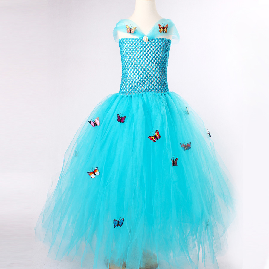 Blue Girl Cinderella Tutu Dress Butterfly Princess Kids Tulle Dress ...