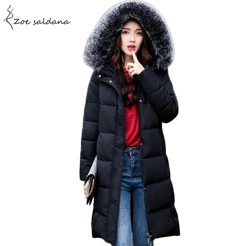 Zoe Saldana 2017 Winter Women Coat Jacket Woman Parka Long Warm High Quality Back Print Faux Fur Hood Outwear zoe saldana 2017 winter women coat long cotton jacket fur collar hooded letter print outerwear femme casual parka