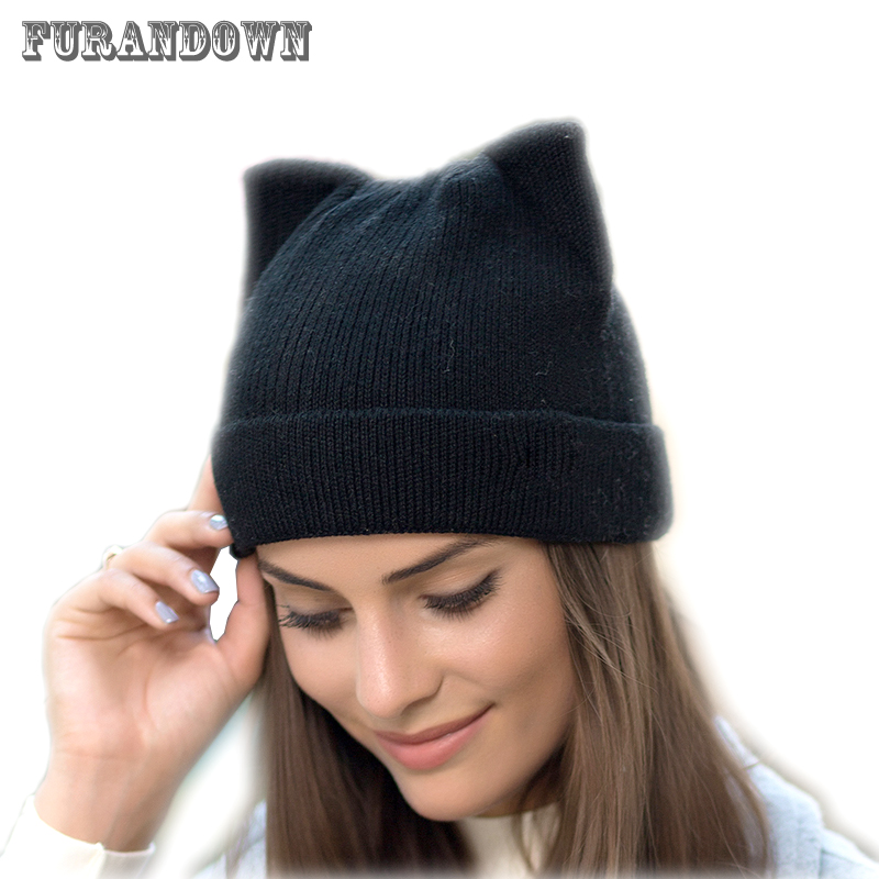 2017 New Winter Cat Hat Women Knitted Wool Beanie Hats For Girls Cute Beanies Caps With Ear Flaps wool felt cowboy hat stetson black 50cm