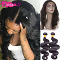 Queen Hair Products With Closure Bundle 360 Lace Virgin Hair With Bundles Peruvian Body Wave With Closure Preplucked Frontal