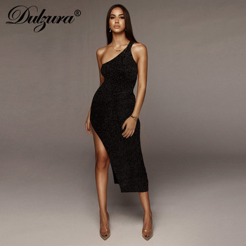 Dulzura 2020 summer women long dress sexy one shoulder slit backless party dress glitter sparkle bling club elegant vestidos