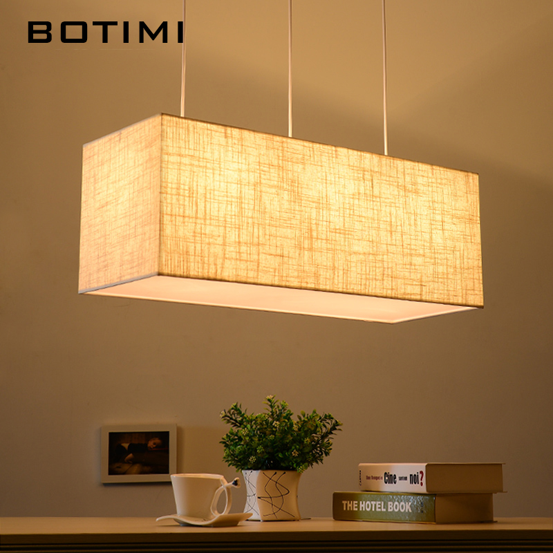 BOTIMI Nordic American Linen Pendant Lights Modern Restaurant Lamp Rectangle Cloth Fashion Dining Lighting Fixtures With Cords