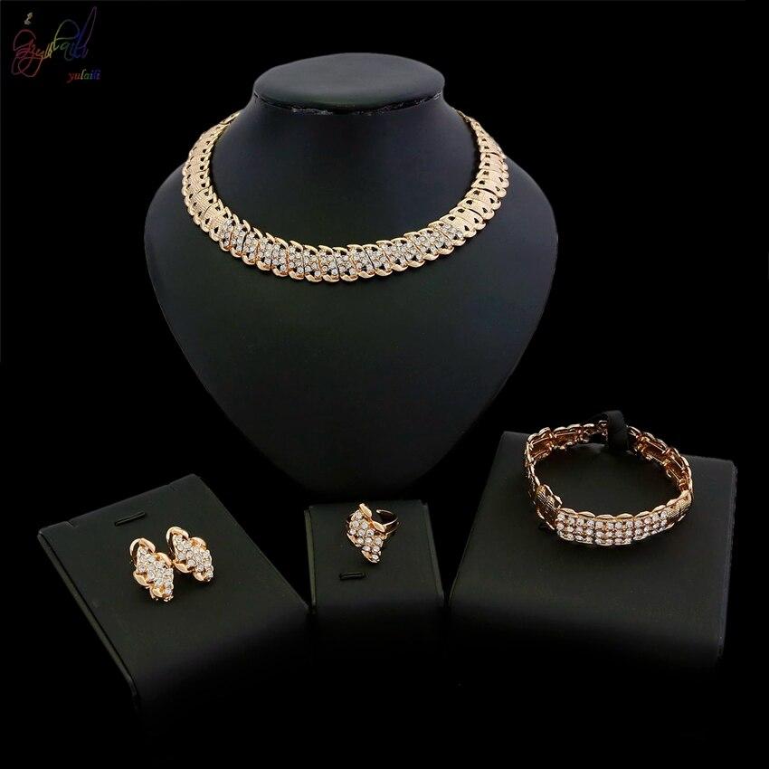 YULAILI 2018 mode alliage de Zinc couleur or dames bijoux fantaisie ensembles avec prix en ligne