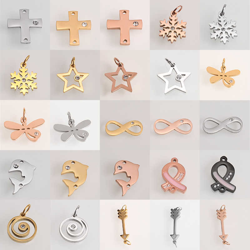 Gold Silver Stainless Steel CZ charm Earring Charms Fashion Star Cross Pendants Jewelry Making DIY Bracelet Necklace Accessaries