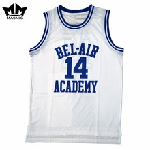 MM MASMIG O Príncipe Fresco de Bel-Air Will Smith 14 Bel-Air Academy Basquete  Jersey White S-3XL