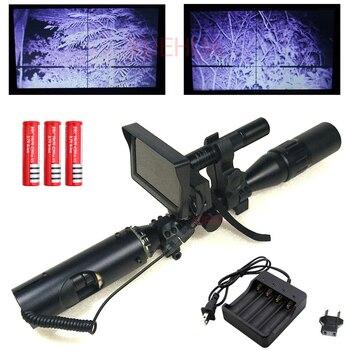 Горячий Новый Открытый охотничья оптика зрение Тактический Цифровой Инфракрасный ночного видения riflescope с батареей монитор и фонарик