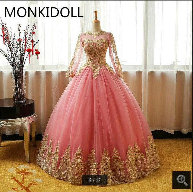Vestido De Festa pink ball gown gold lace appliques prom dresses hollow  back sexy corset long sleeve real picture prom gowns d865acdb24ea