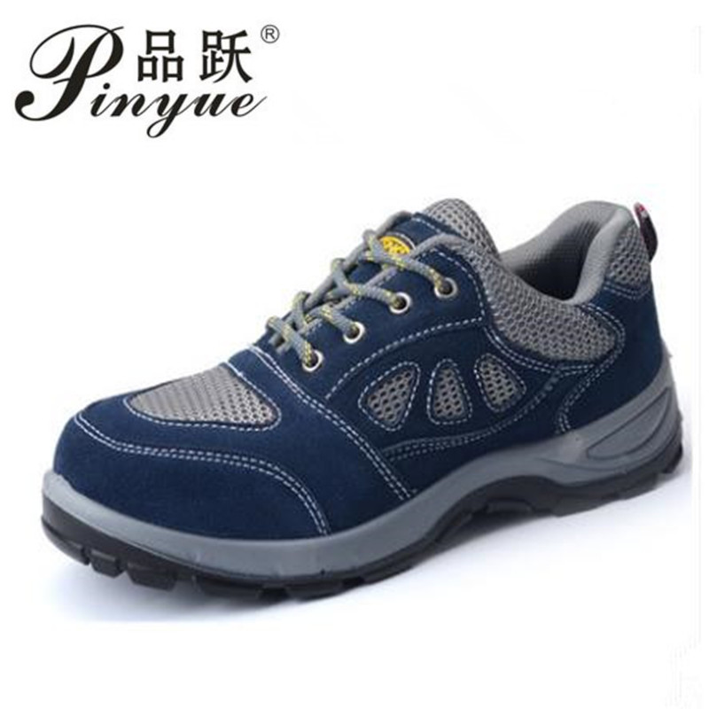 2018 men Summer new Genuine leather steel toe and steel sole safety shoes breathable and comfortable bot safety work shoes men