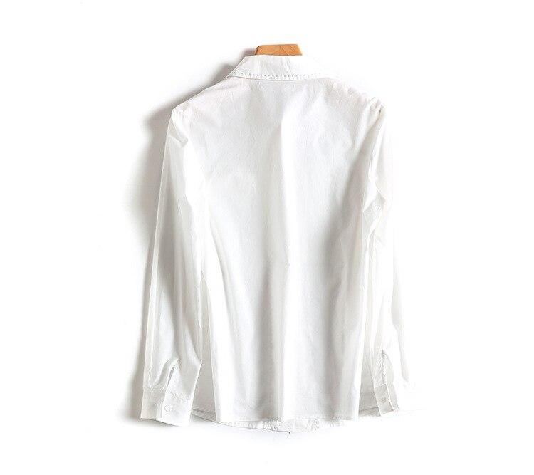À Chemisier 2019 Dames Femmes Corée Le Mode Longues Mince Nouveau Q973 Décontracté Véritable Manches Vers Uni Bas Bleu Tournent Hauts blanc q7pgwztA