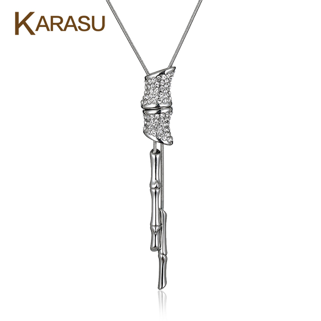 Fashion Real White Gold Plated Double Bamboo Shape Pendant Platinum Plated Long Snake Chain Necklaces for Women Jewelry