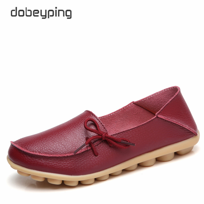 dobeyping 2018 Spring Autumn Women Shoes Real Cow Leather Shoes Woman Female Driving Flats Soft Ladies Loafers Plus Size 35-44 flat shoes women pu leather women s loafers 2016 spring summer new ladies shoes flats womens mocassin plus size jan6