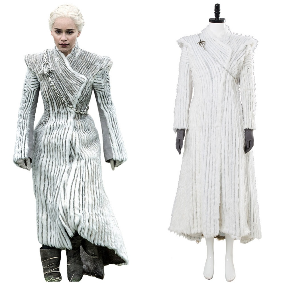 Game of Thrones Saison 7 E6 Daenerys Targaryen Cosplay Costume D'hiver Outfit Draconique Neige Robe