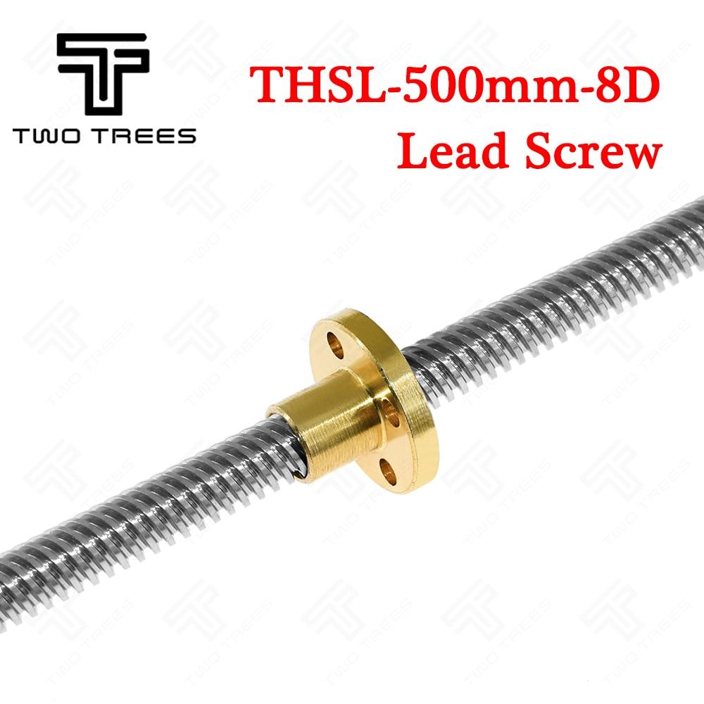 цена на Lead Screw3D Printer Anti-Backlash Nut +500mm 8mm lead Brass copper nut -type Stepper Motor Trapezoidal Lead Screw 8MM Thread T8