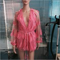 XS-XL 2017 new nice Sexy deep V neck lantern long sleeve pink feathers designer one-piece jumpsuits playsuits