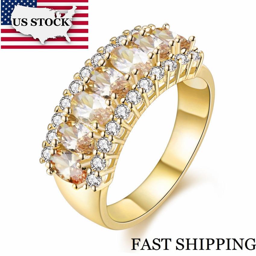 f57d9d22f168 STOCK amarillo Color plata anillos de compromiso de cristal grande anillo  de Zirconia mujeres anillo de mujer Ringen Bijoux comentado J501 en Anillos  de ...