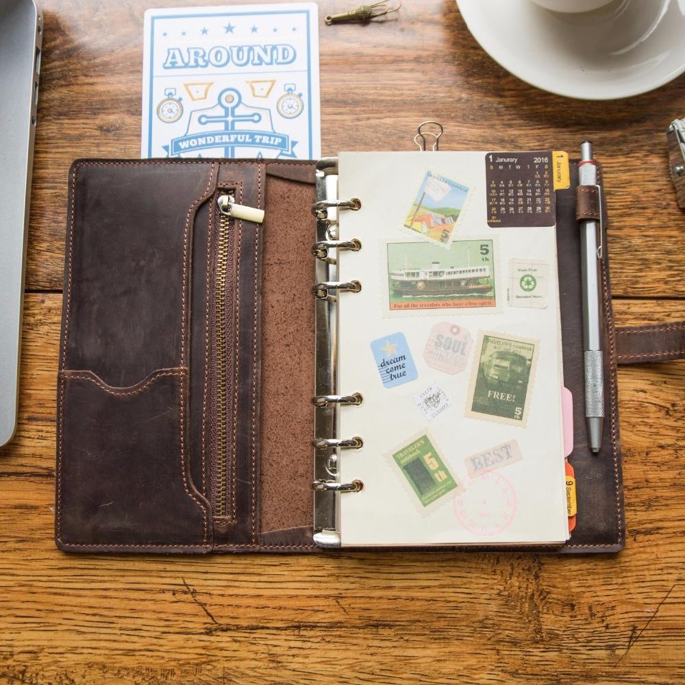 Multifonctionnel Vintage en cuir Design carnet de voyage Journal journal Journal fait à la main 2019 balle journal planificateur bloc-notes a5 - 5