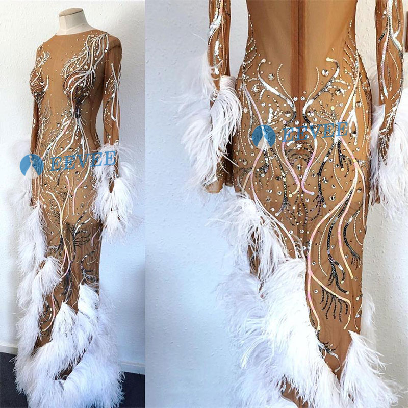 Fashion Crystals Mesh Dress Sexy Rhinestones See Through Stretch Stage Dance Wear Evening Celebrate Feathers Dress Costume