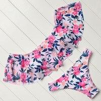 Strapless Bikini Swimwear Ruffled Swimsuit Women Padded Bikini Set Beachwear Push Up Bathing Suits Vintage Printed