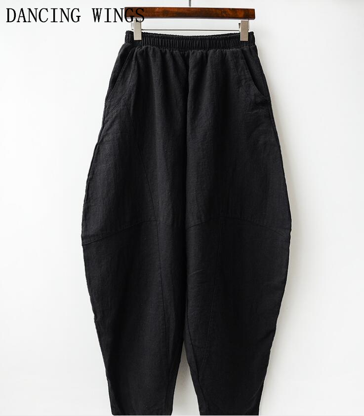 Spring Summer Woman Cotton Linen   Wide     Leg     Pants   Elastic Waist Vintage Casual Solid Lantern Trousers Female