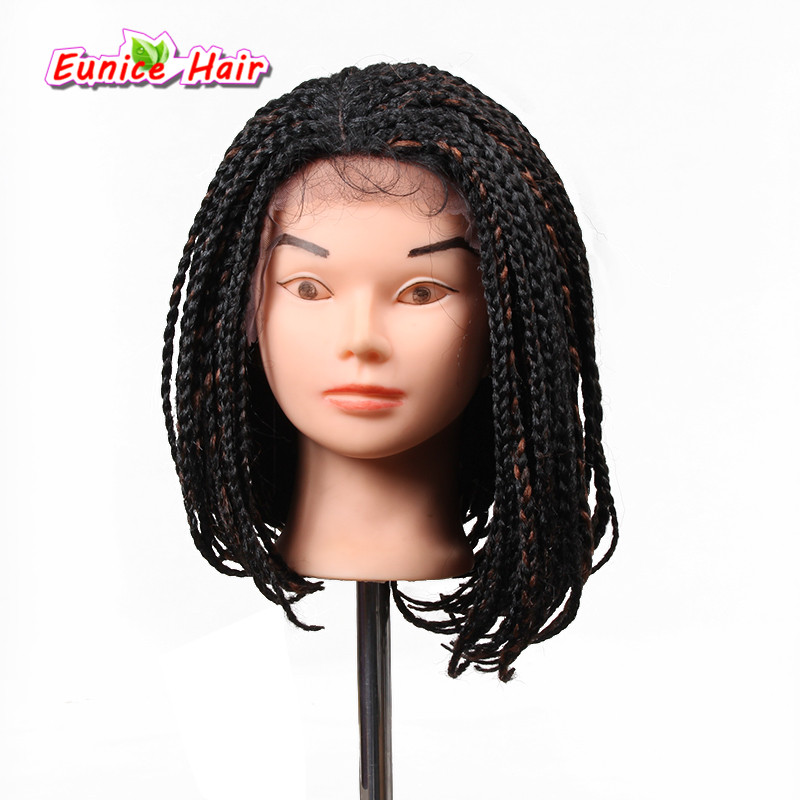10-16inch Ombre Bob Synthetic Lace Front Wig with Baby hair Colored Braided Box Braids wigs for African American Golden Beauty