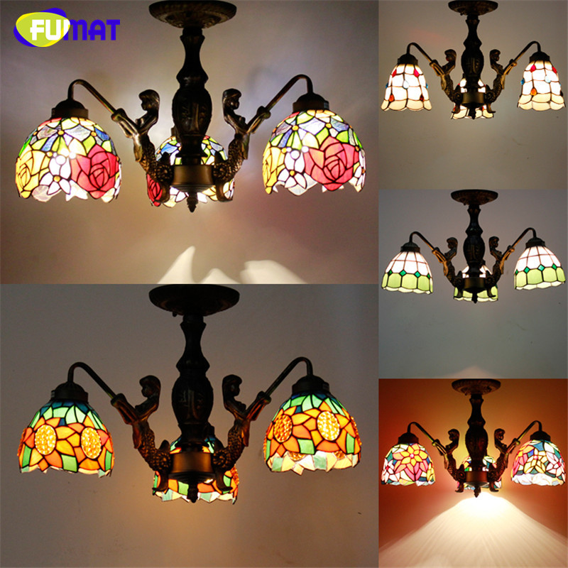 Tiffany Stained Glass Pendant Lamp Vintage Mermaid Metal Body Restaurant Living Room Suspension Lamp Dining Room Hotel Light tiffany baroque retro stained glass pendant light restaurant bedroom living room corridor porch lamp