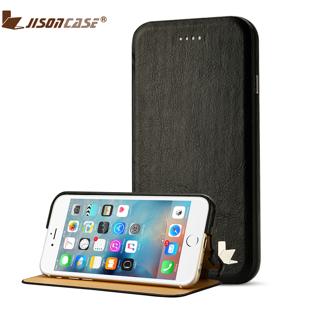 low priced 559f1 b11e1 US $15.54 34% OFF|Jisoncase Flip Case for iPhone 6 Plus PU Leather Luxury  Folio Kickstand Cover for iPhone 6S Plus Book Cover for Apple 5.5 inch-in  ...