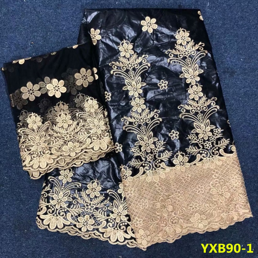 Us 76 05 Beautifical Pattern Embroidered African Bazin Riche Getzner Nigerian Lace Beads Fabric In Black For Wedding From Home