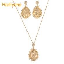 Купить с кэшбэком HADIYANA Dignified Yet Atmospheric And Distinctive Jewellery Set  Peacetime Party  Anniversary Copper Luxur Cubic Zirconia CN678