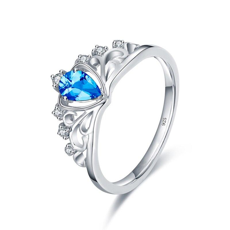 Bague couronne en argent Sterling 925 pour femmes, saphir rubis, péridot, cœur, bague de princesse, bijoux de fête en pierre précieuse