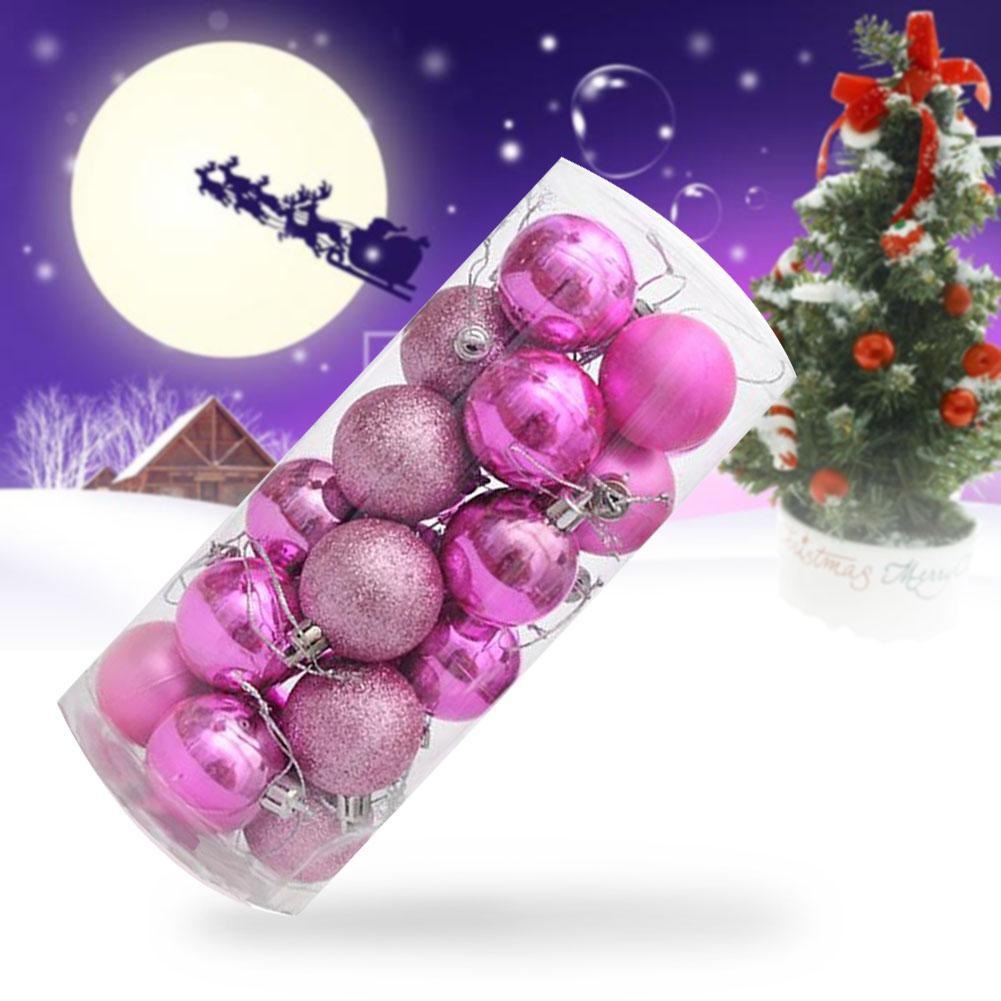 Pink Christmas Ornaments.Us 3 95 34 Off 24pcs 4cm Plastic Bright Balls New Pink Christmas Tree Colourful Balls Baubles Xmas Party Decorations Home Hanging Ornament In Ball