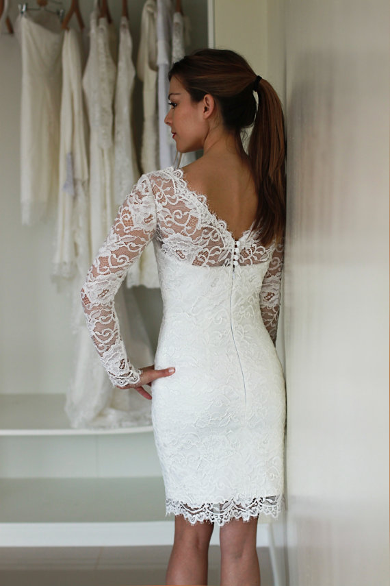Full Lace Short Wedding Dresses With Long Sleeves V Back Straight Sheath Beach Bridal Weddign Gowns Custom Made In From Weddings Events On