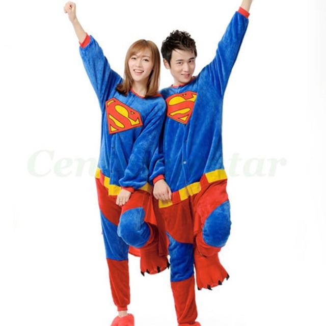e511da3d75ed Adults Couple onesie Pajamas Cosplay halloween superman costume for women  winter party carnival costume fantasias pijamas