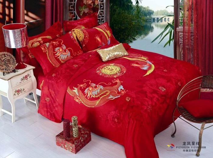 Dragon rouge chinois double bonheur mariage literie ensemble reine taille housse de couette couvre-lit dans un sac feuille couette chambre coton