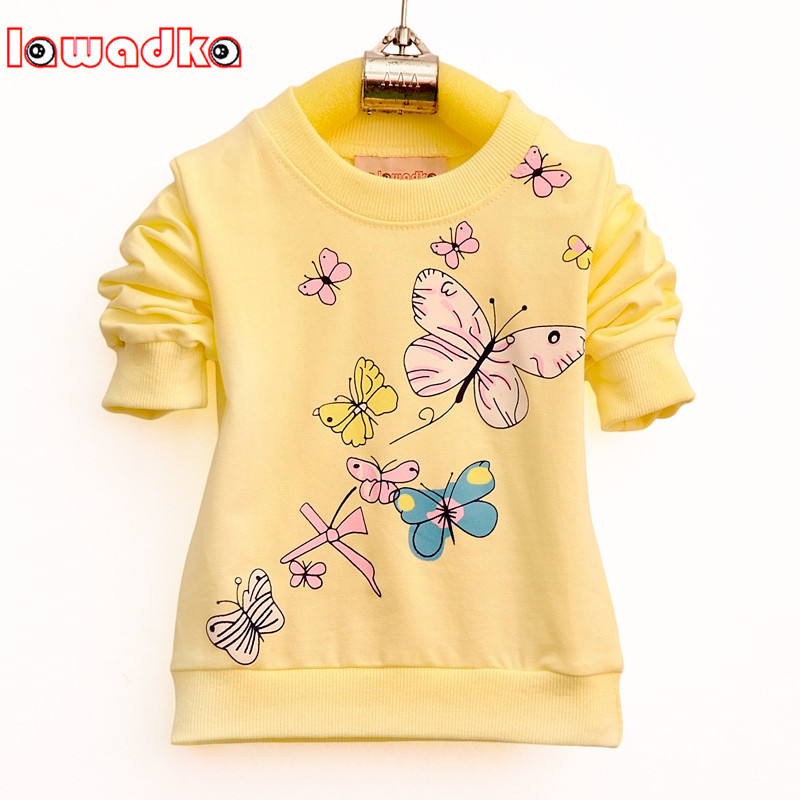 Lawadka Baby Girls T-shirt Beautiful Butterfly Long Sleeve Band Sport T Shirts for Girls Cotton Children Clothing butterfly sleeve rhinestone embellished plus size t shirt