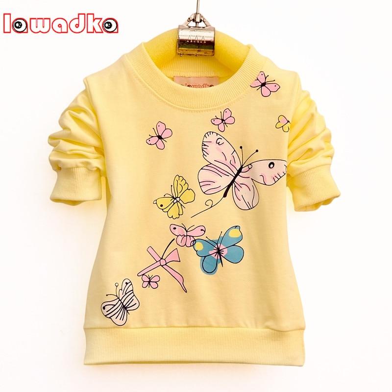 Lawadka Baby Girls T-shirt Beautiful Butterfly Long Sleeve Band Sport T Shirts For Girls Cotton Children Clothing