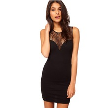 Summer Women Dress See-through Sleeveless Splicing Lace Party Clubbing Mini Dress Sexy Chic