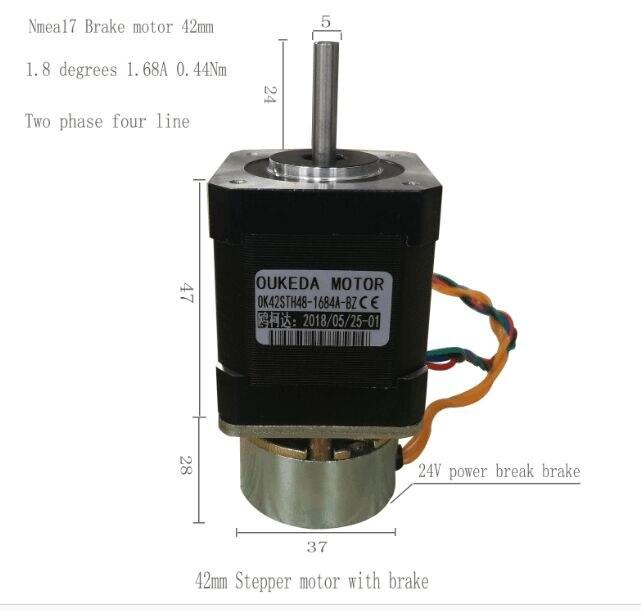 Бесплатная доставка 4-привести Nema 17 шаговый двигатель nema 17 шагового двигателя с тормозом ЧПУ для лазерной и 3D принтера