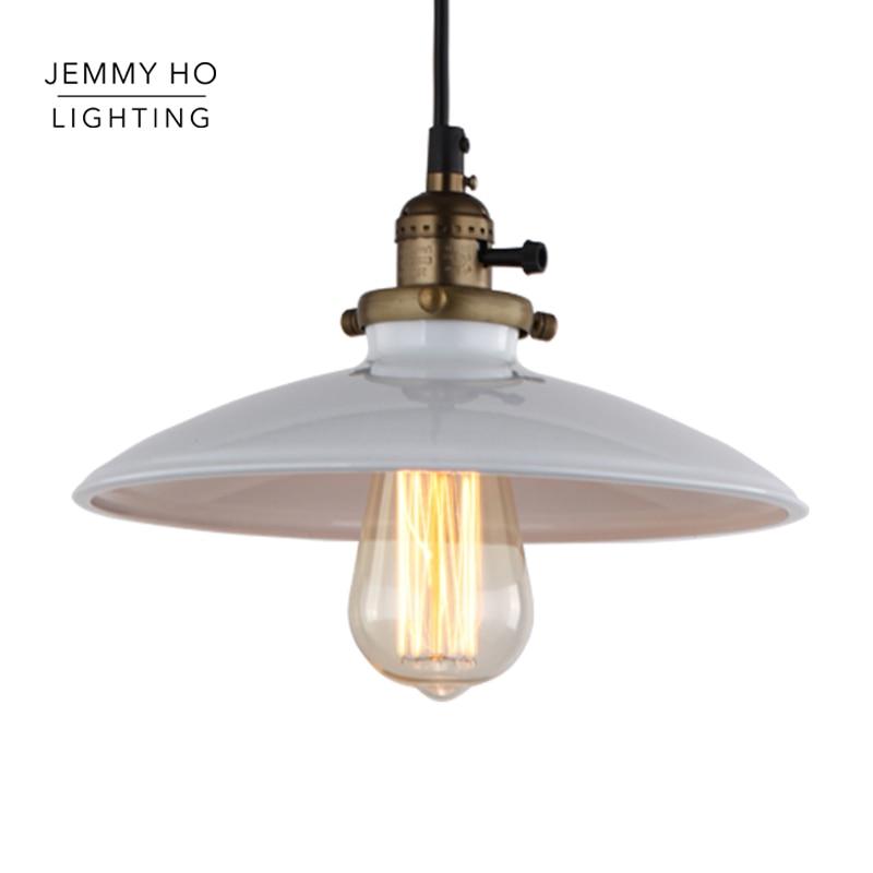 ФОТО JEMMY HO Retro Loft Pendant Lights White Color Dia 250mm Vintage Pendant Lamps Indoor Lighting For Living Room, Dining Room, Bar