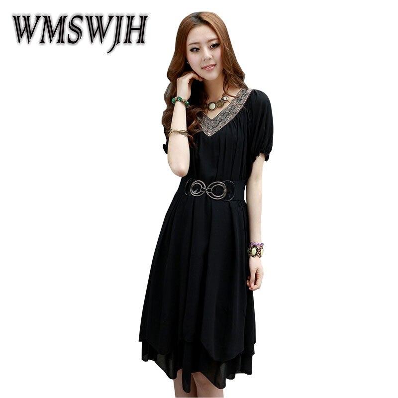 WMSWJH 2019 léto nové volné velké ženy šití šifónové šaty módní výstřih s krátkým rukávem jednoduché obří houpačky