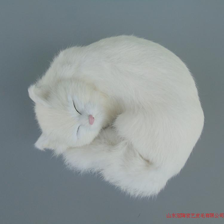 cute simulation white cat polyethylene & furs sleeping cat model gift about 25x20x11cm 240 цена 2016