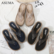 Womens Flat Bottom Wedge Summer Beach Shoes Non-slip Comfortable Flip Flop Diamond Trim flat Slippers Sandalias De Verano Para