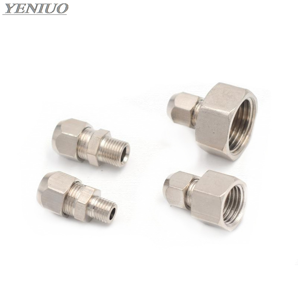 Metric 10*1mm 14*1.5mm 16*1.5mm 20*1.5mm Female Thread Or Male Thread Clip Connect Brass Pipe Fittings