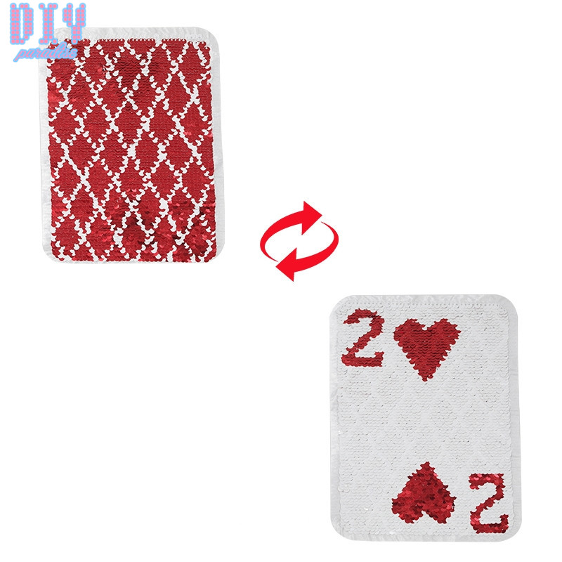 Red Playing Card Reversible Sequins Sew On Patches for clothes Poker Change Color T shirt Embroidered Patch Applique